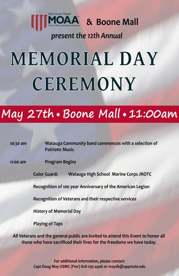 Memorial Day Ceremony at Boone Mall