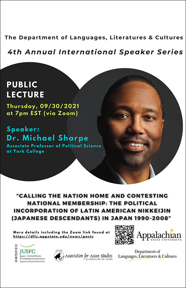 Dr. Michael Sharpe: Calling the Nation Home and Contesting National Membership: The Political Incorporation of Latin American Nikkeijin (Japanese Descendants) in Japan 1990-2008