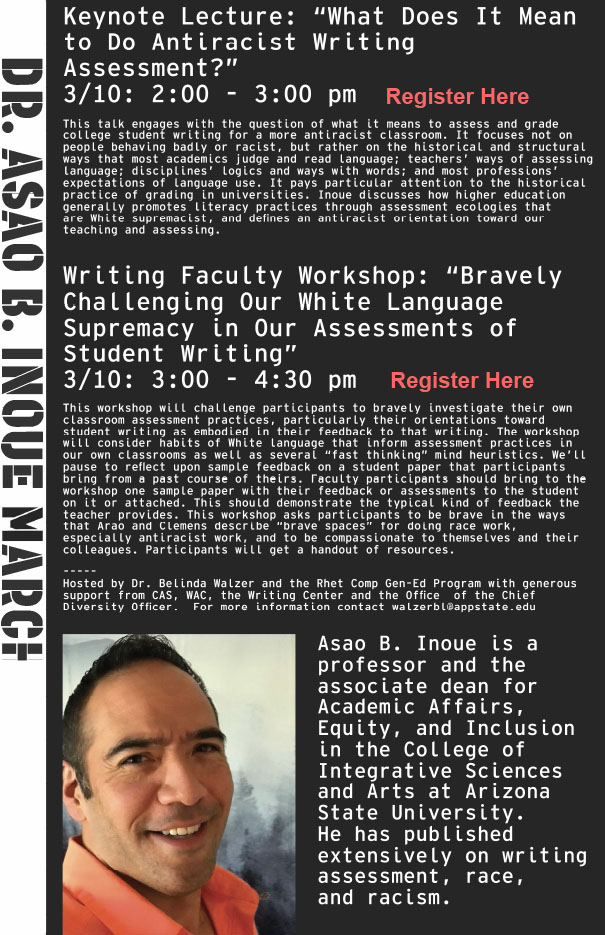 """Dr. Asao Inoue Lecture: """"What Does It Mean to Do Antiracist Writing Assessment?"""""""