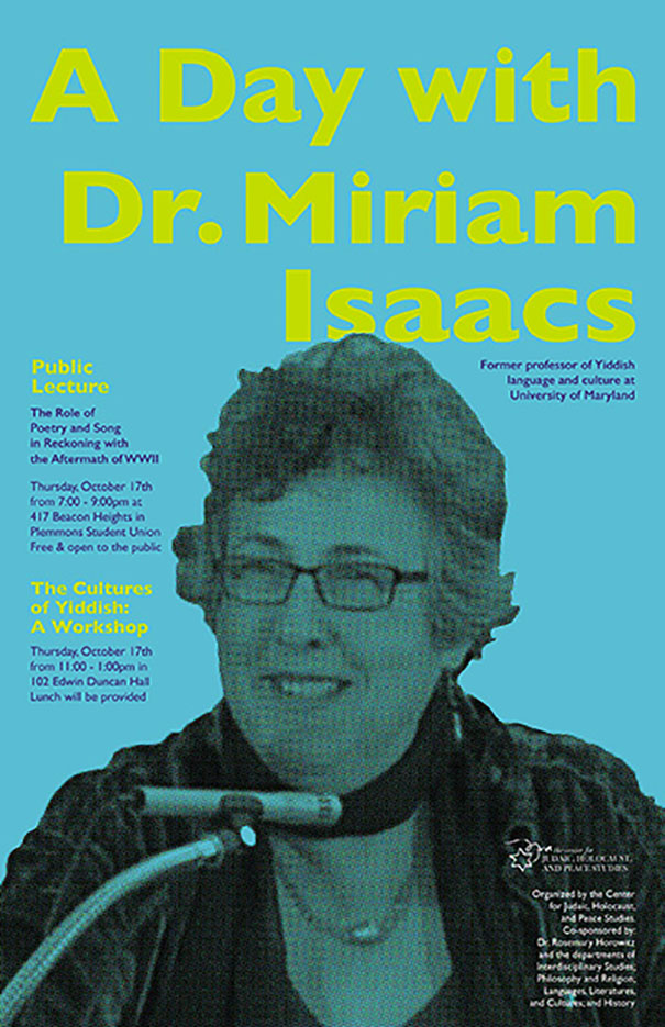 A day with Dr. Miriam Isaacs: Yiddish language scholar workshop and lecture