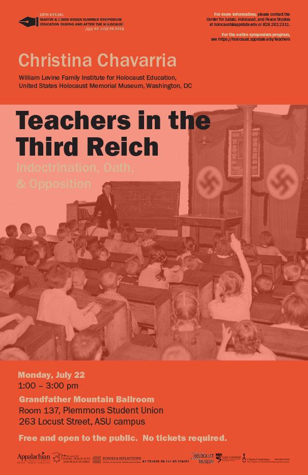 US Holocaust Memorial Museum Scholar To Speak on Nazi Teachers