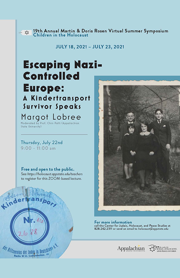 Center Symposium brings Kindertransport and Holocaust Child Survivor Margot Lobree to Appalachian State Community