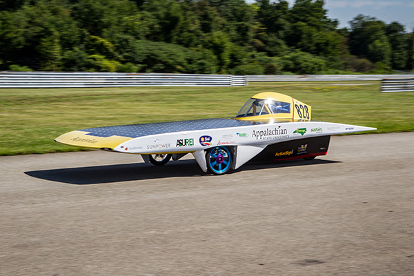 On the track at 2016 American Solar Challenge