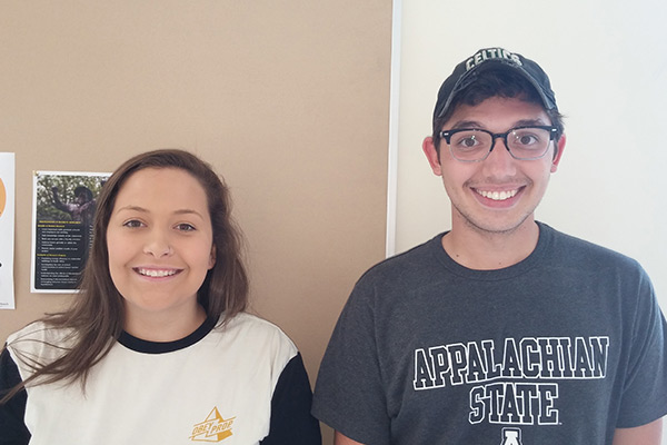 Mikayla Sage and Cameron Small are winners of Appalachian's 2016 ECRS Computer Science Innovation and Entrepreneurship scholarships