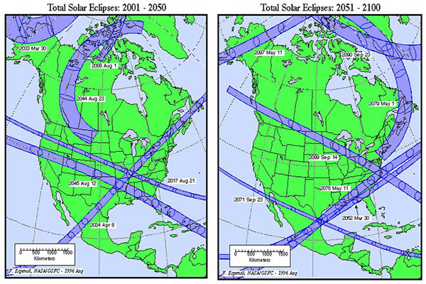 History of total solar eclipses in North Carolina