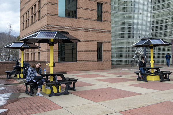 Study, connect and recharge at Appalachian's new solar-powered picnic tables