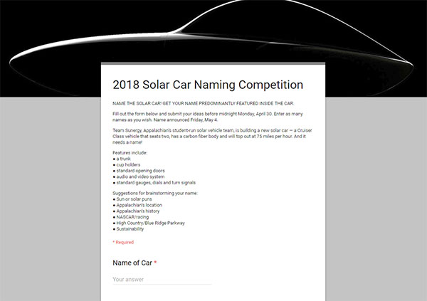 2018 Solar Car Naming Competition