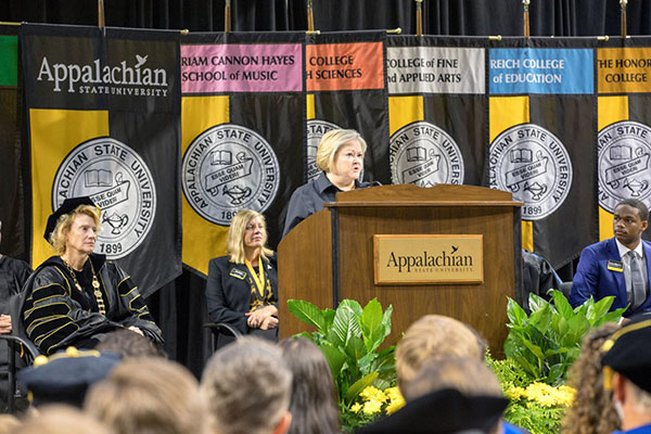Mother of hate crime victim addresses Appalachian's class of 2022