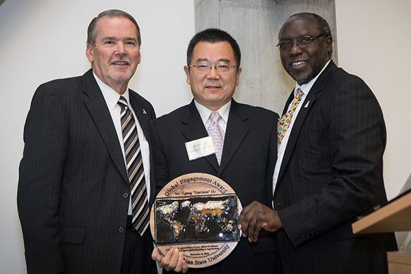 "Jigang ""Harrison"" He receives inaugural Appalachian Global Engagement Award"