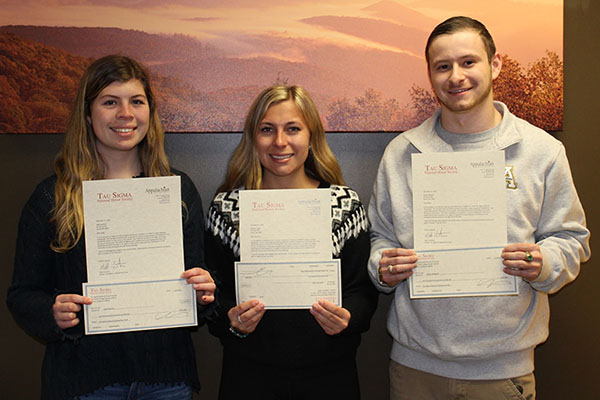 Tau Sigma awards 3 Appalachian transfer students $9K in scholarships