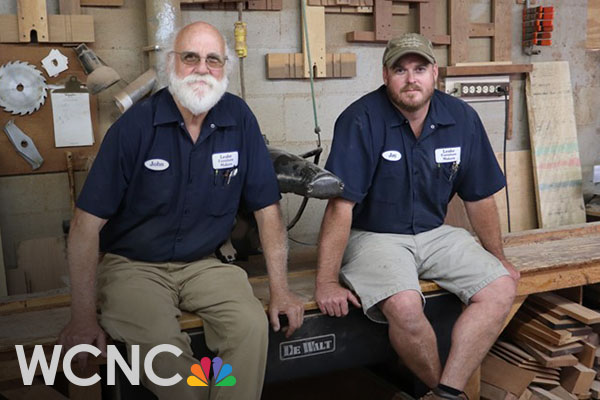 Father-son industrial technology grads John Leake '77 and Jay Leake '04 of York County, South Carolina, craft wooden box delivered to the Queen of England by President Trump