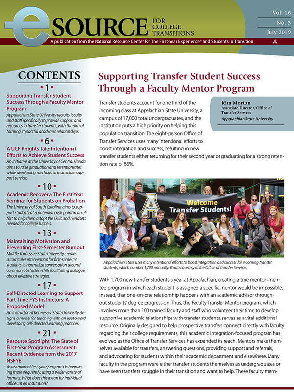 'Supporting Transfer Student Success Through a Faculty Mentor Program'