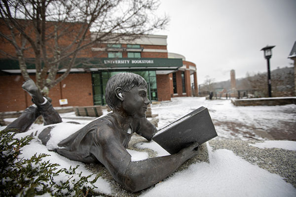 Black, gold — and white: App State's first accumulating snowfall of 2020 blankets campus